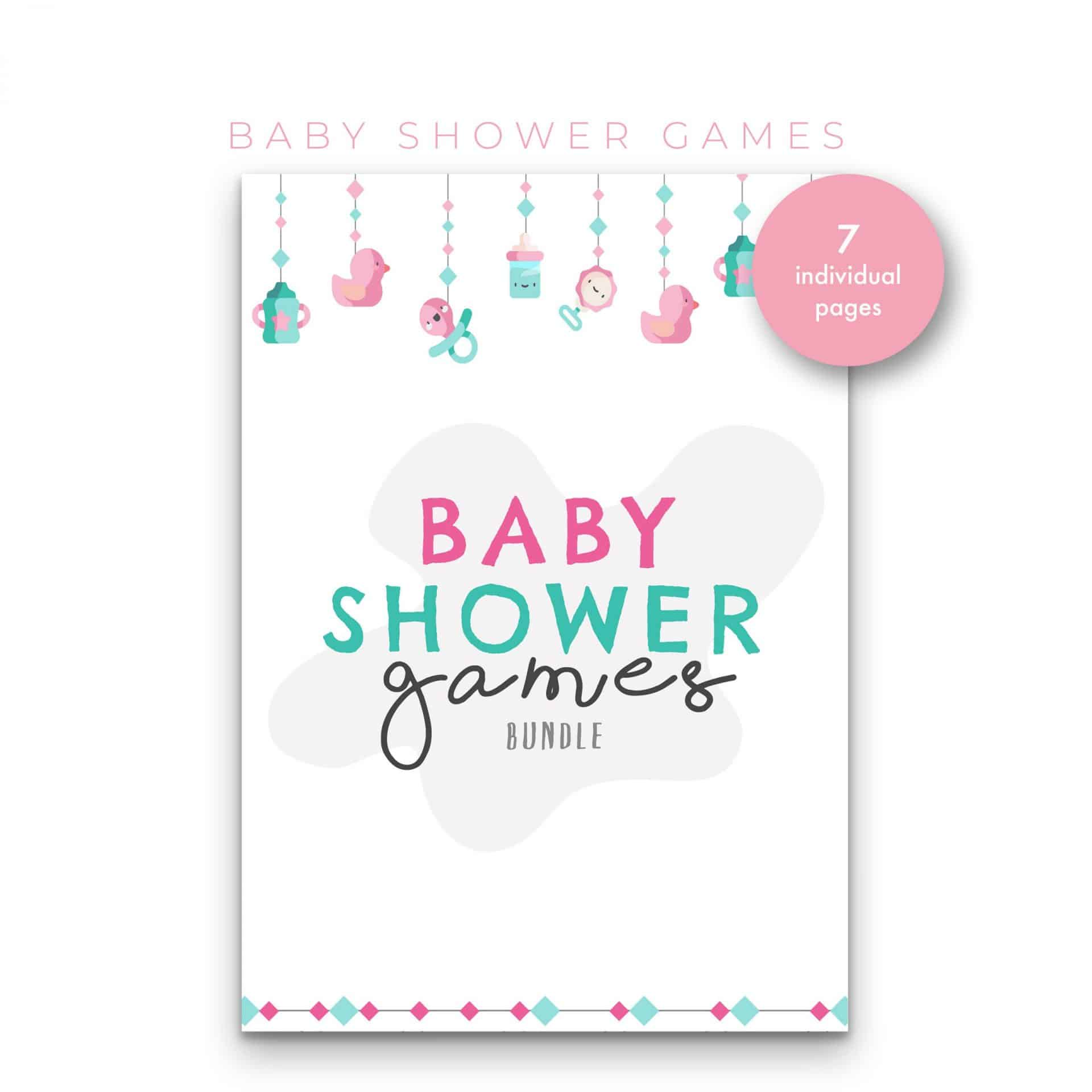 Ultimate 7 in 1 Baby Shower Games – Pastel