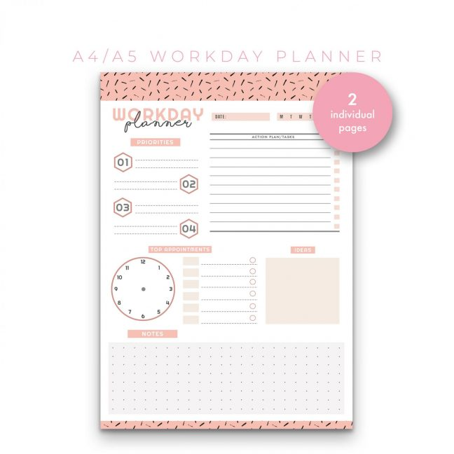 Workday and Schedule Planner – Peach