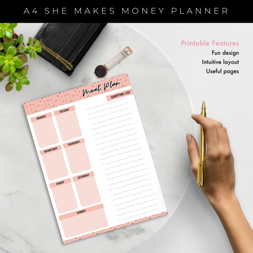 Shopping and Meal Planner 2 in 1 – Peach