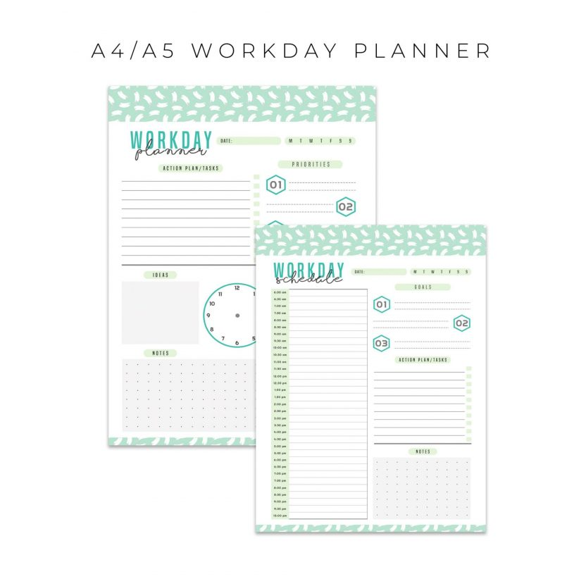 Workday and Schedule Planner 2 in 1 – Mint