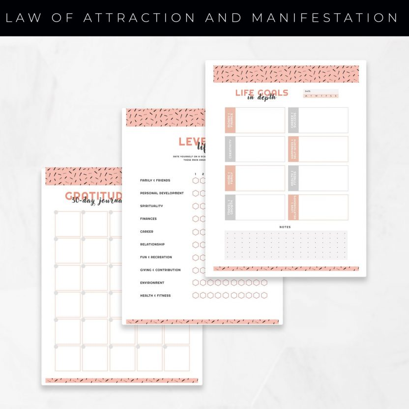 Law of Attraction and Manifestation Planner 10 in 1 – Peach