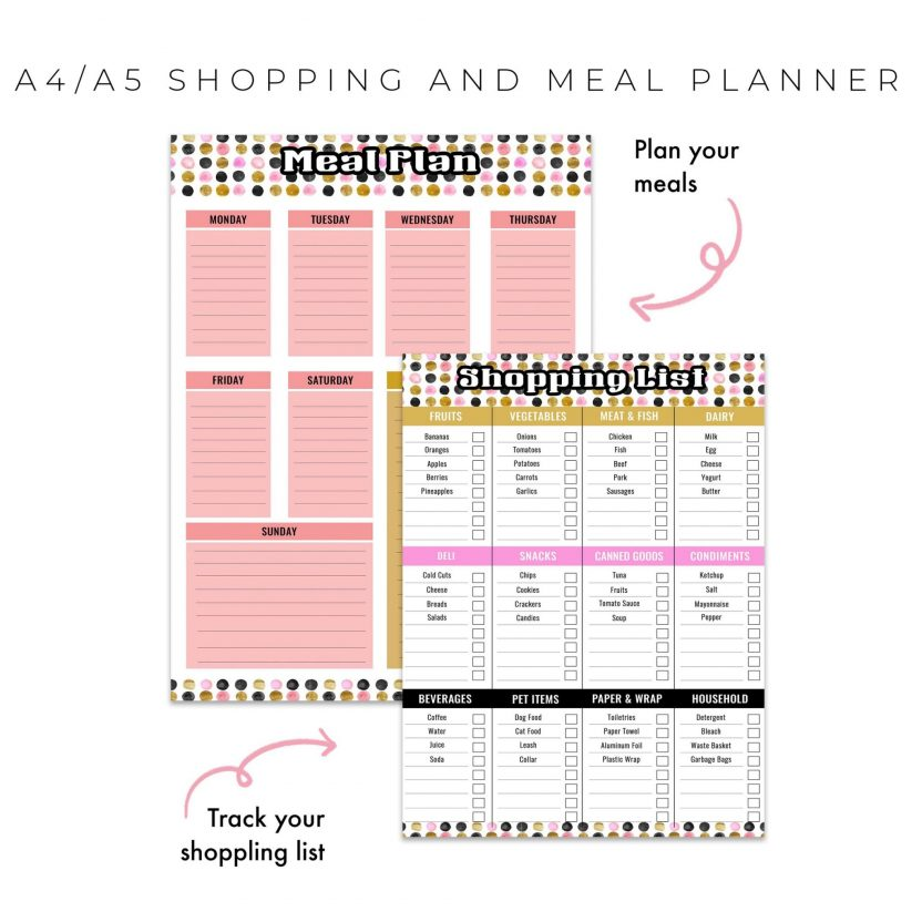 Shopping and Meal Planner 2 in 1 – Dots