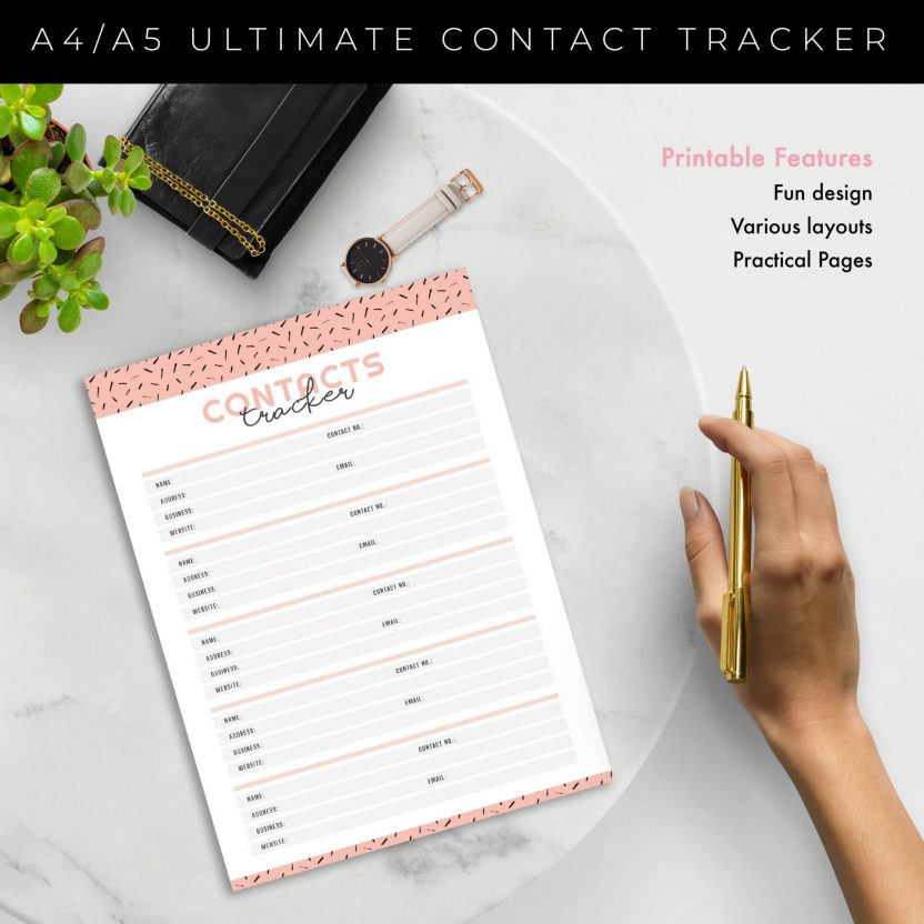 Contacts Tracker and Planner 3 in 1