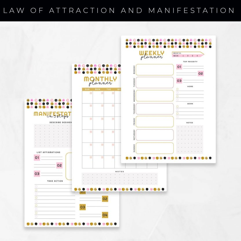 Law of Attraction and Manifestation Planner 10 in 1 – Gold