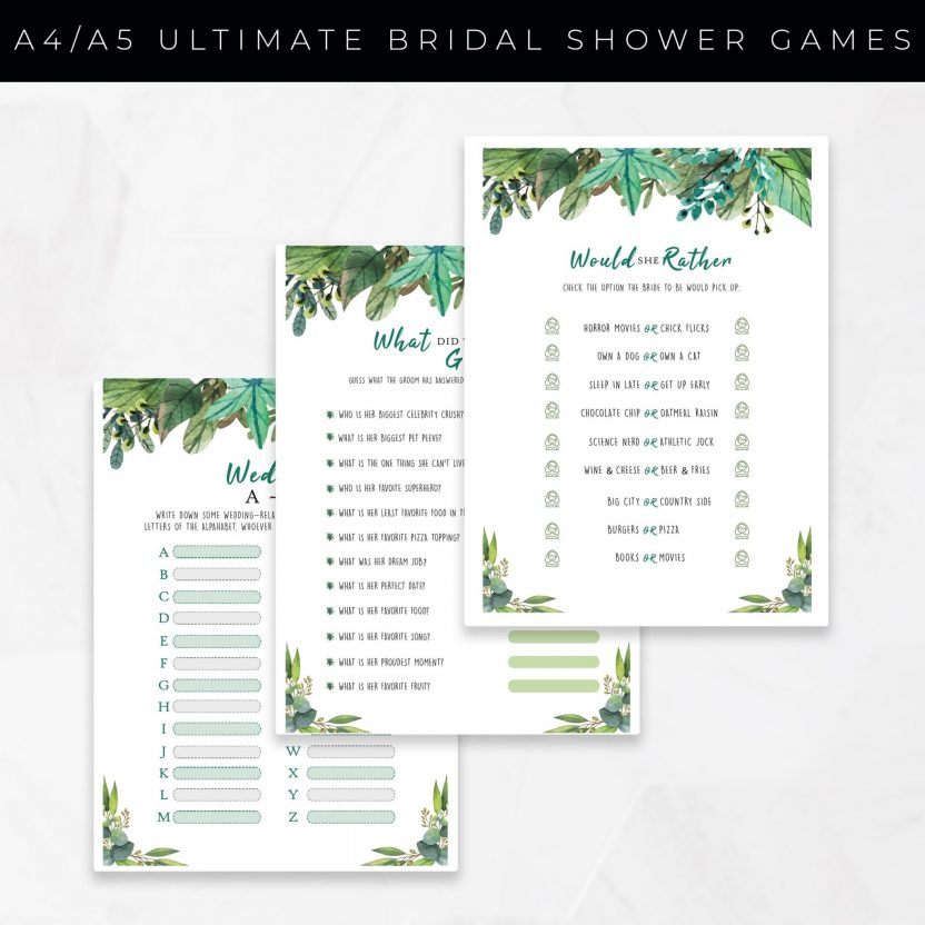 The Bridal Shower Games Bundle 10 in 1 – Green Leaves