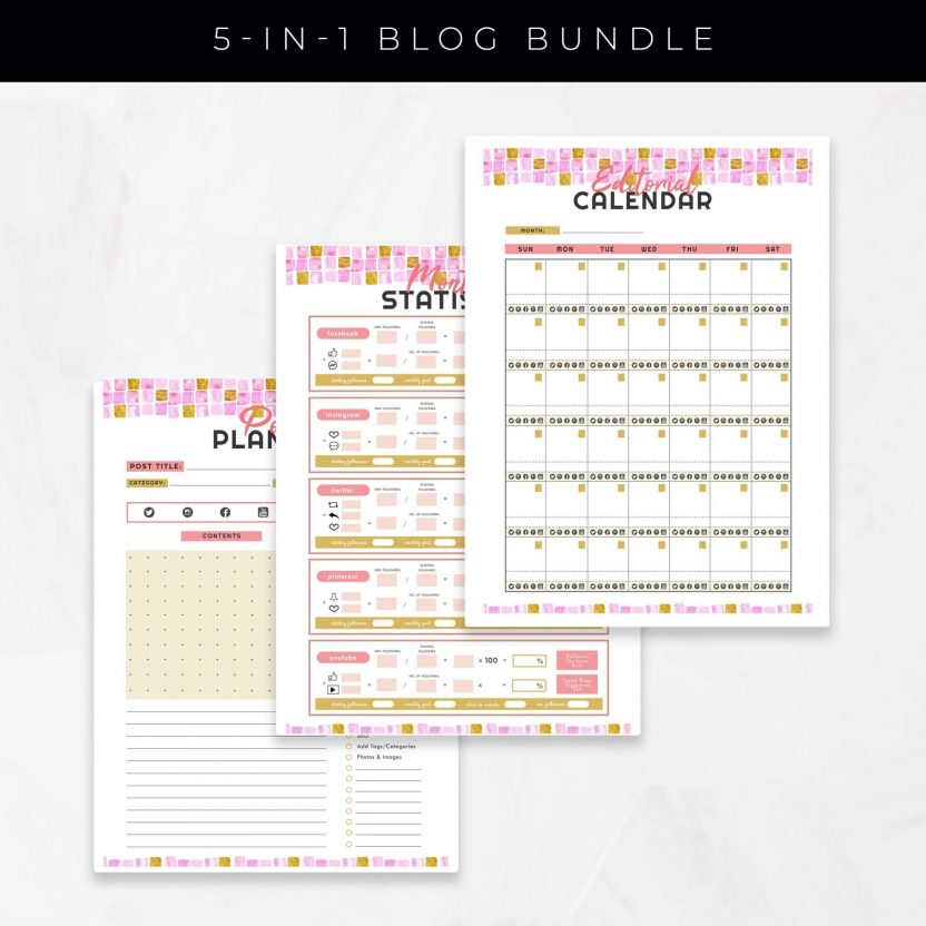 Blog Planner 5 in 1 – Gold