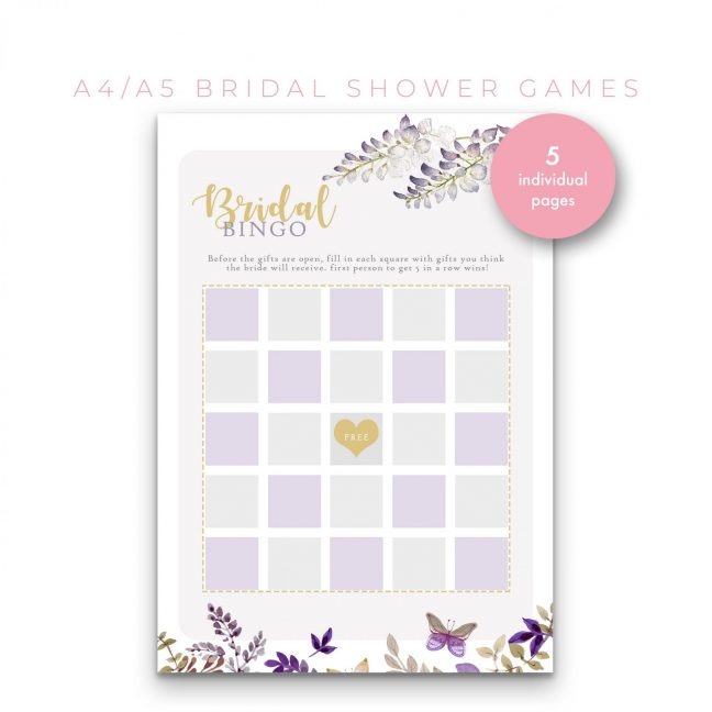 Bridal Shower Games 5 in 1 – Lavender