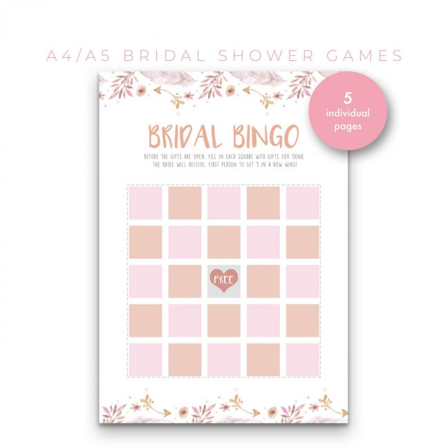 Bridal Shower Games 5 in 1 – Pastel
