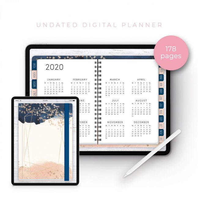 Cream Navy Blush Undated Planner