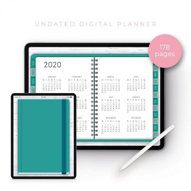 Teal Undated Planner