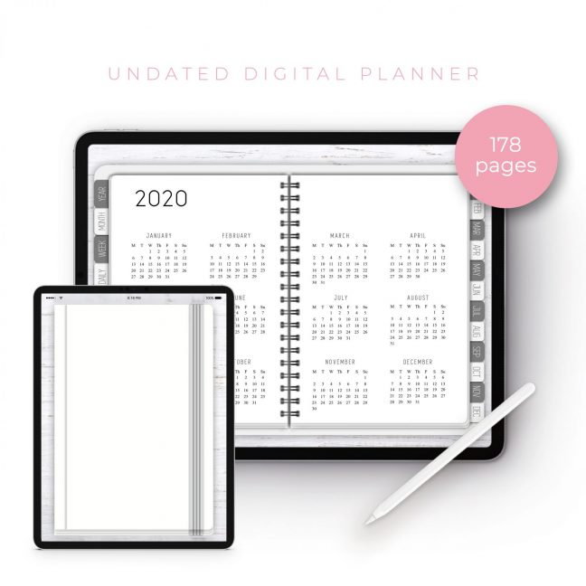 White Undated Planner