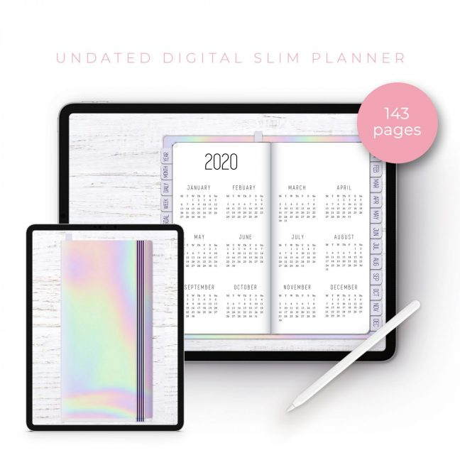 Holographic Slim Undated Planner