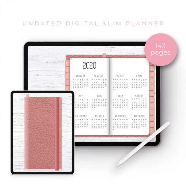 Rose Gold Leather Slim Undated Planner