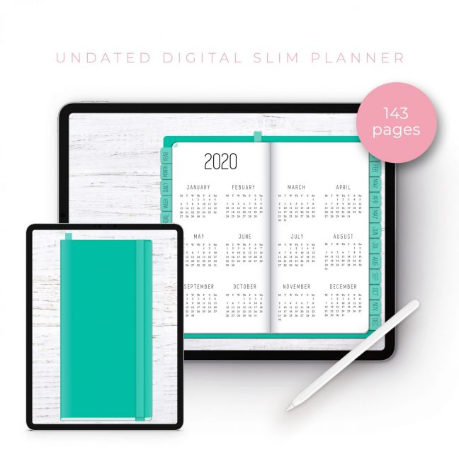 Teal Slim Undated Planner