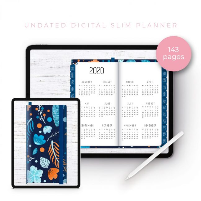 Winter Pattern Slim Undated Planner
