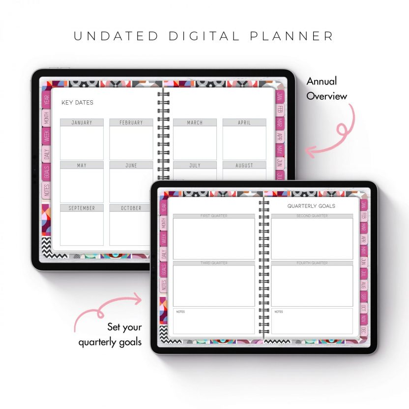 Abstract Pink Undated Planner