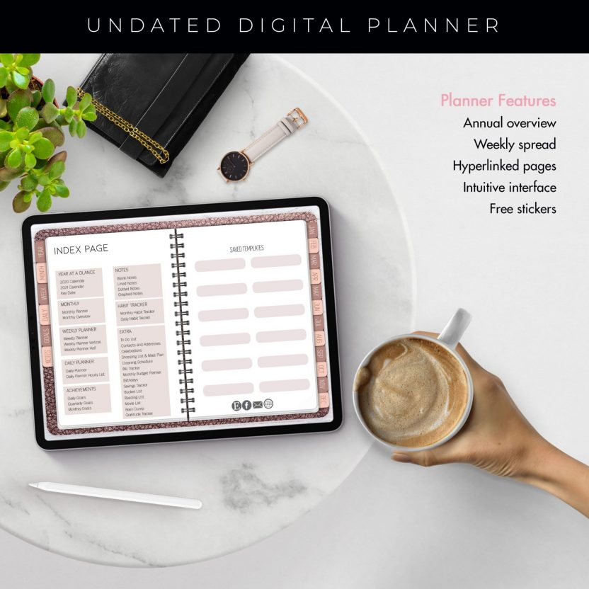 Rose Gold Leather Undated Planner