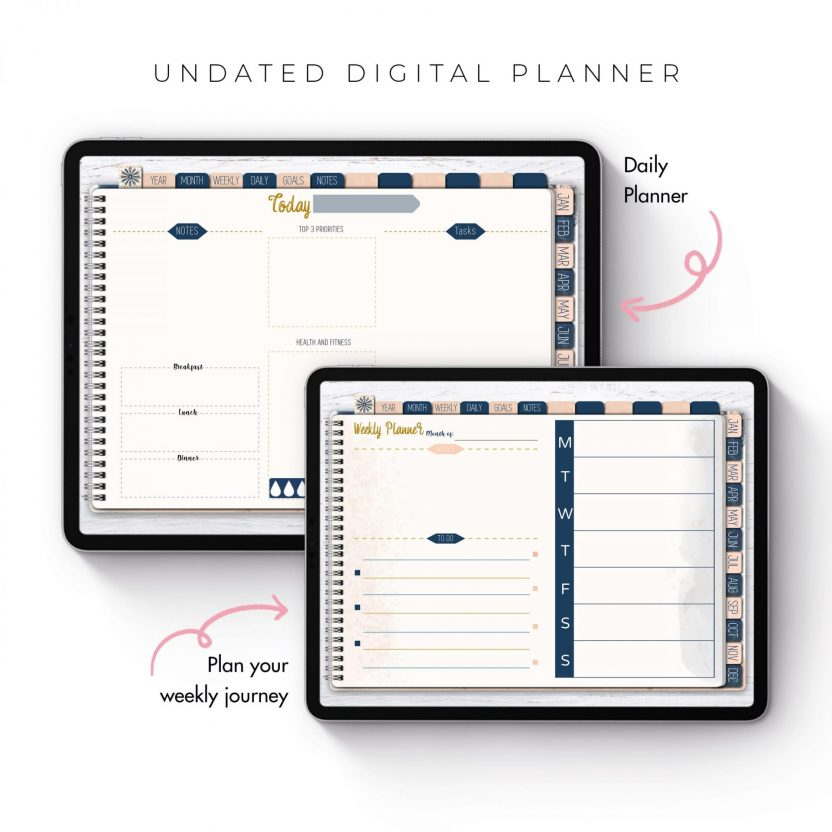 Navy, Blush and Rose Gold Life Planner