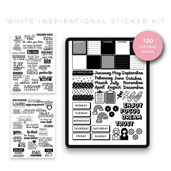 Inspirational Quotes Sticker Bundle – Black & White