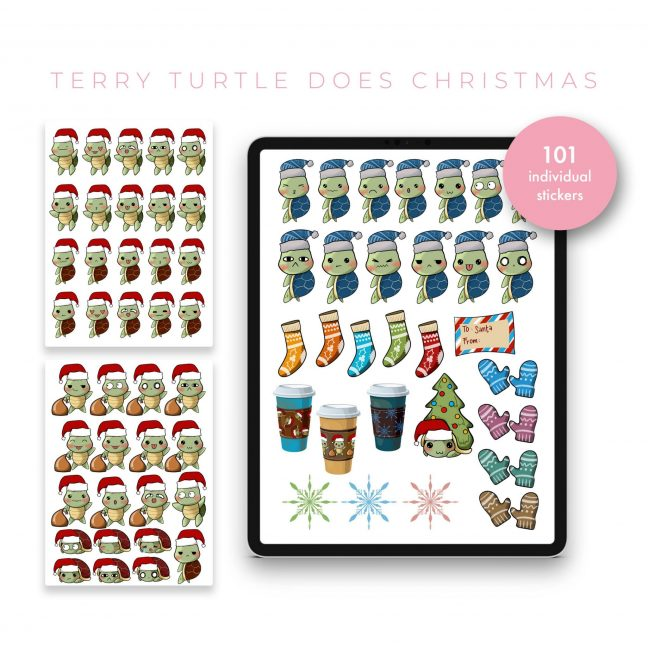 Terry Turtle does Christmas Stickers