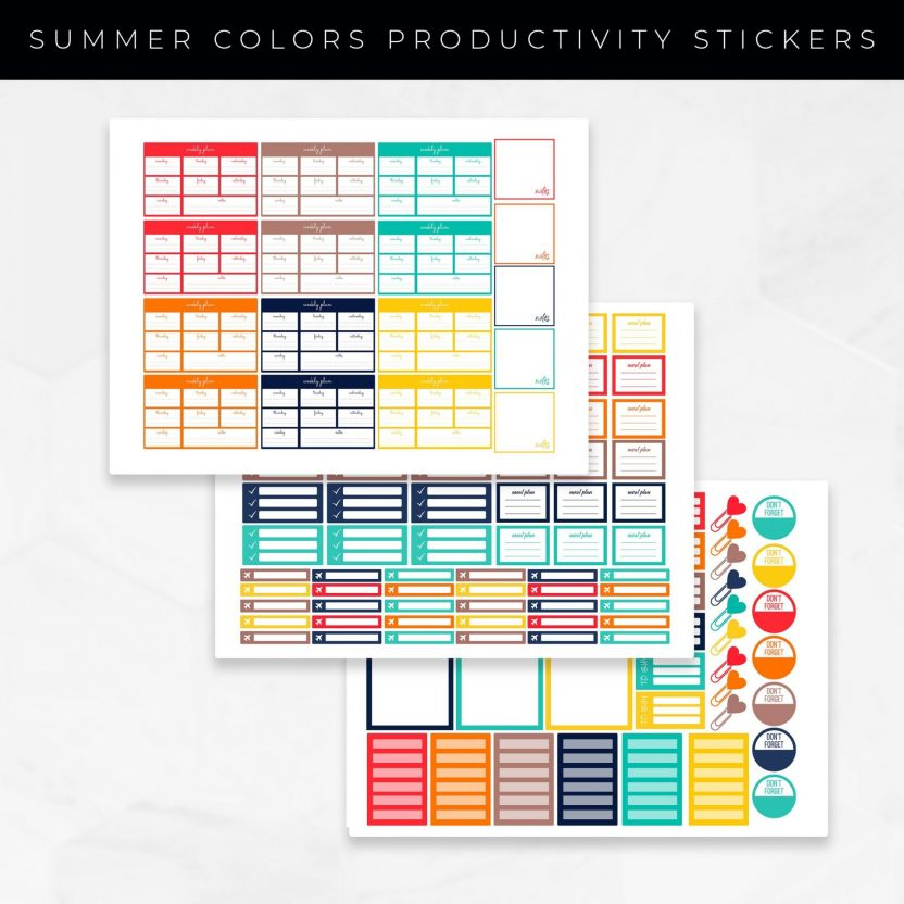 Summer Colors Productivity Stickers