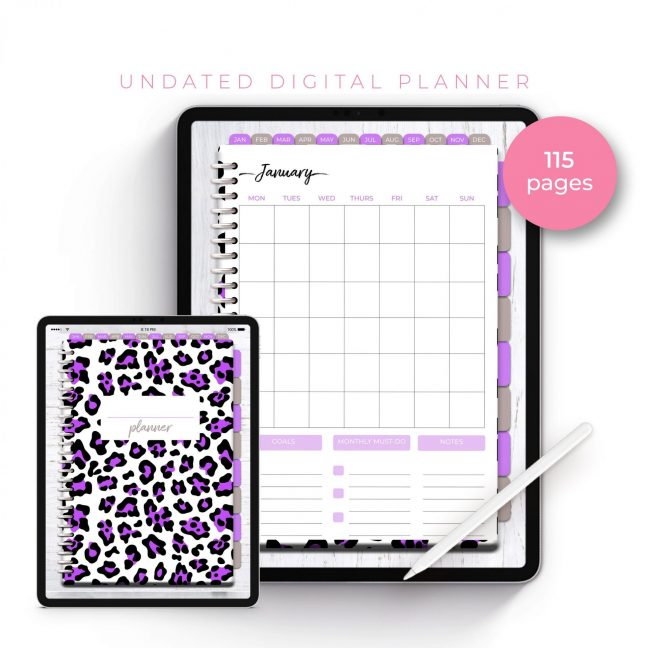 Wild Bright Purple Leopard Undated Planner