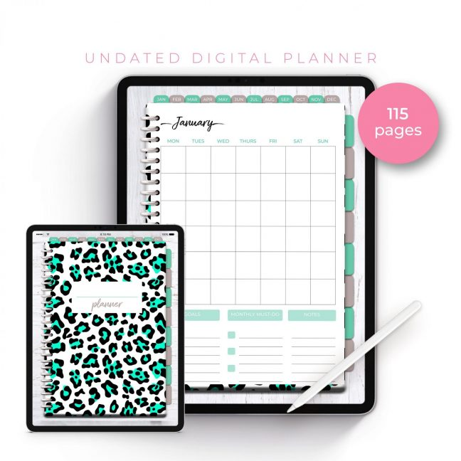 Wild Bright Blue Leopard Undated Planner