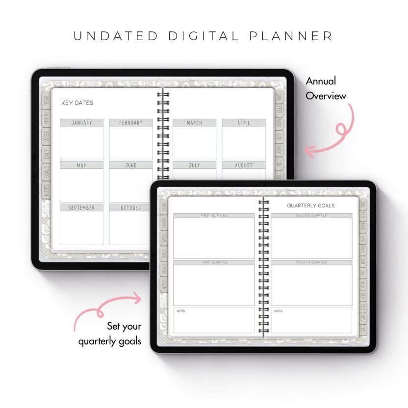 White Lace Undated Planner