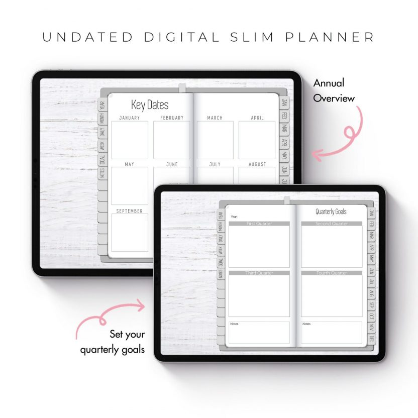 Light Grey Slim Undated Planner