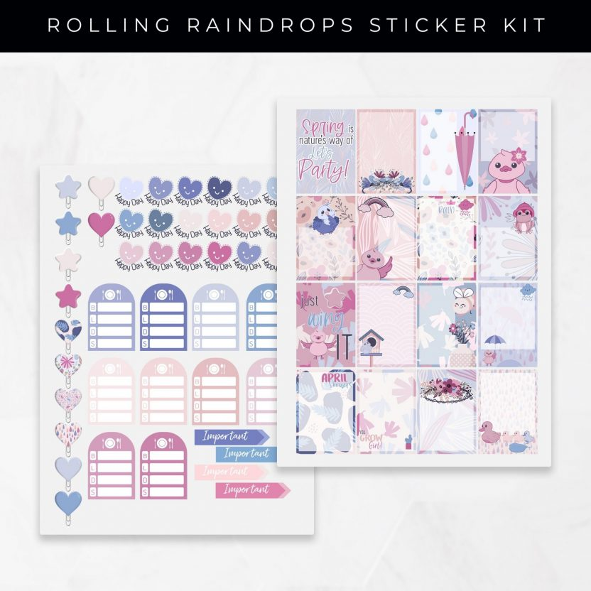 Rolling Raindrops Stickers