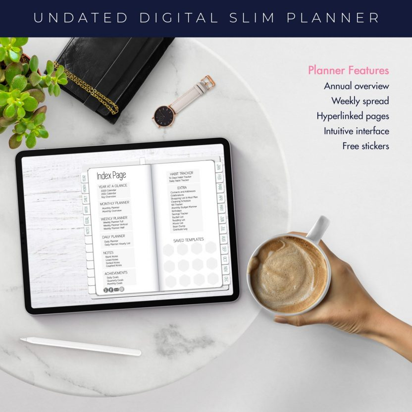 White Slim Undated Planner