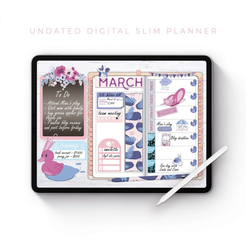 Polka and Rose Gold Slim Undated Planner