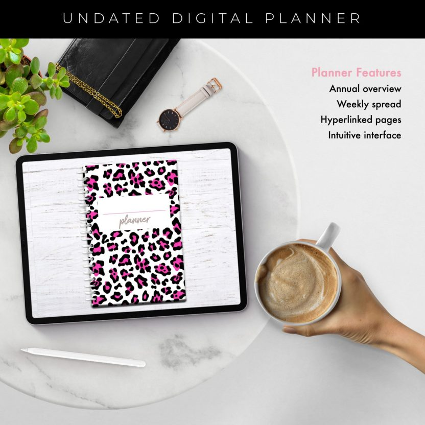 Bright Pink Leopard Middle Spiral Undated Planner