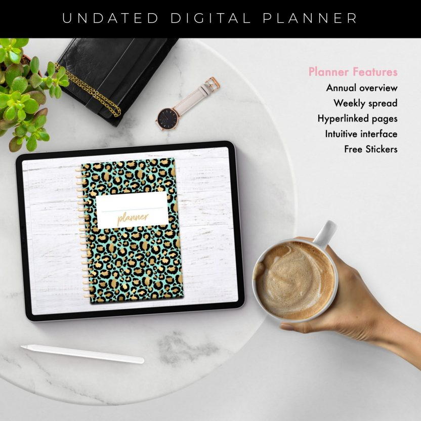 Mint Gold Leopard Middle Spiral Undated Planner