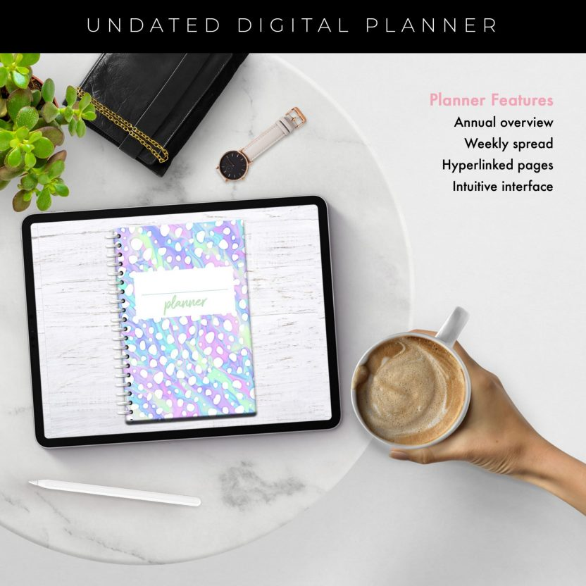 Iridescent Cheetah Middle Spiral Undated Planner