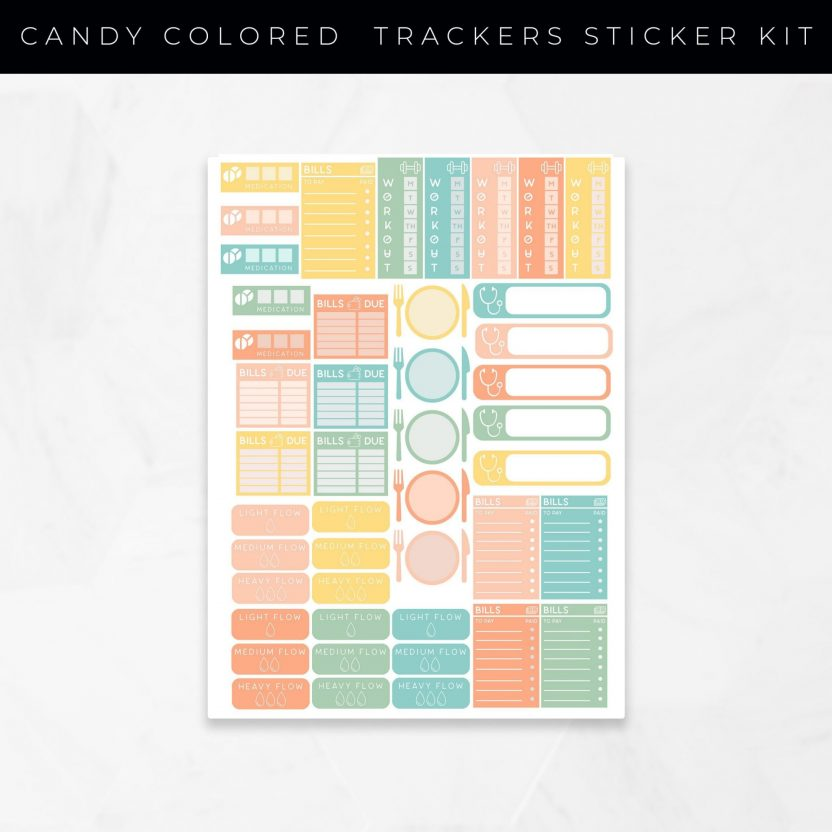 Tracker Stickers Candy Colored Set