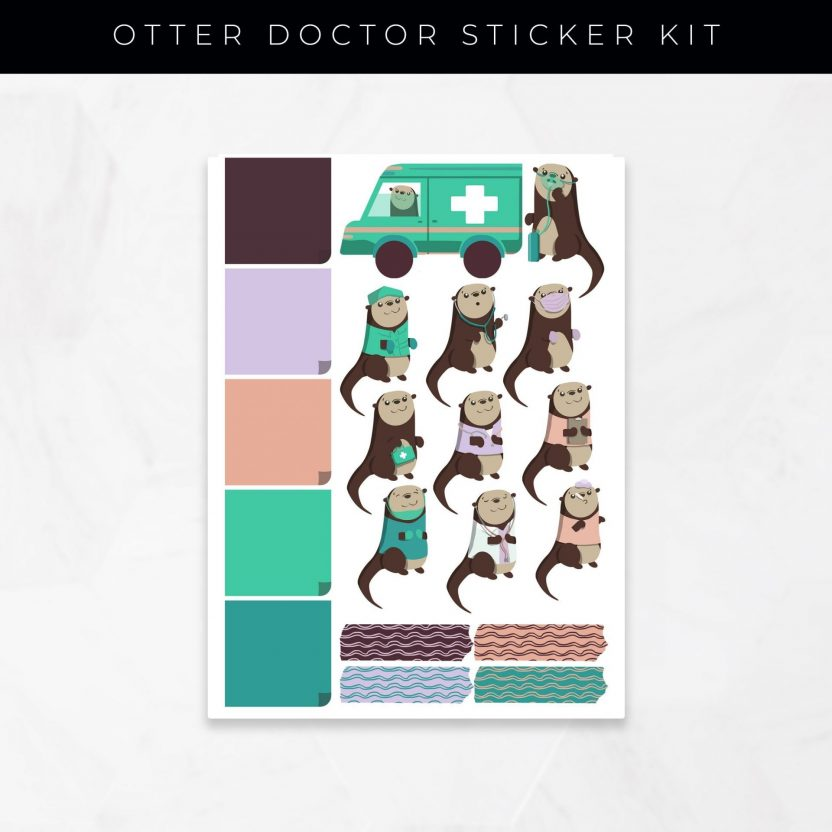 Otter Doctor Stickers