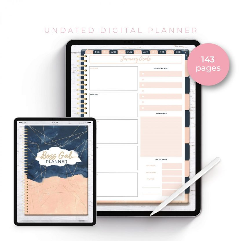 Boss Gal Geometric Navy Blush Undated Planner