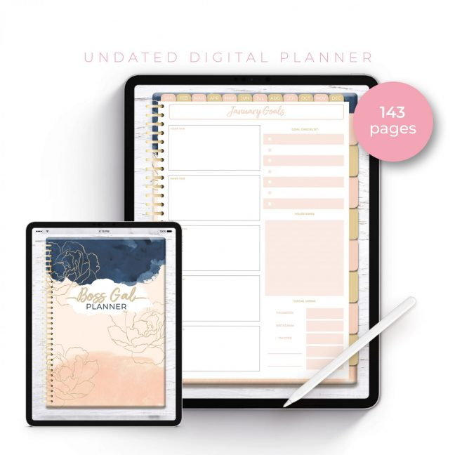 Boss Gal Gold Floral Undated Planner