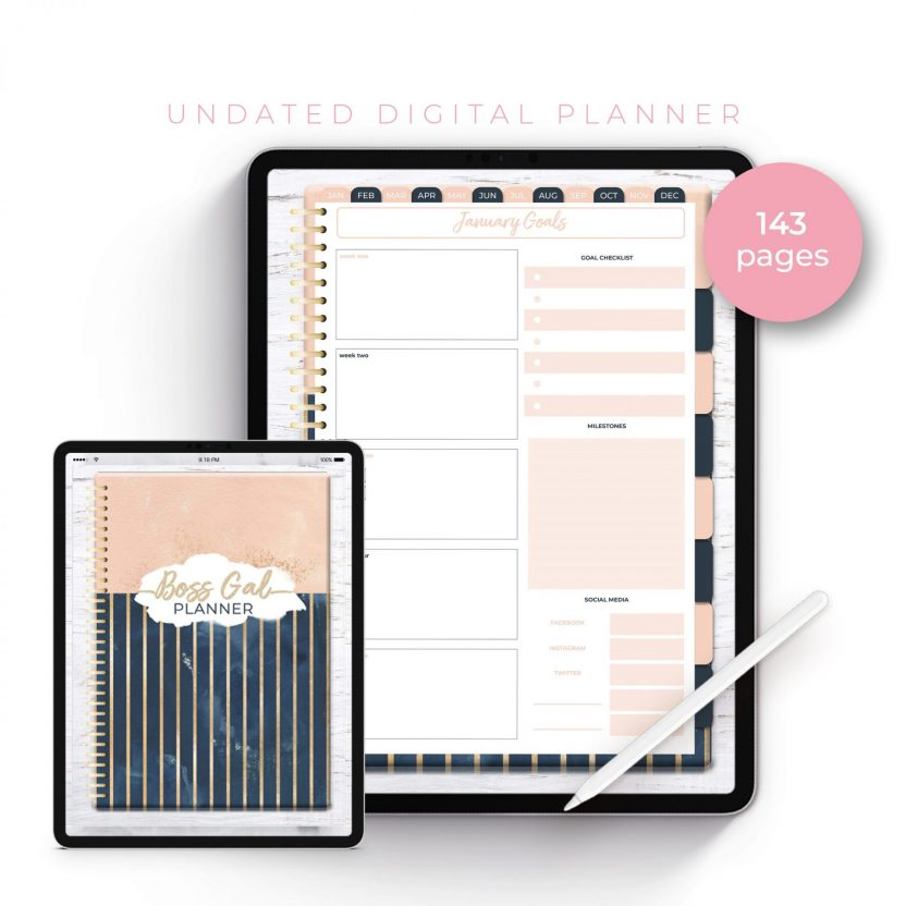 Boss Gal Striped Navy Undated Planner