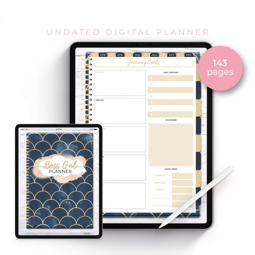Boss Gal Gold Navy Scales Undated Planner