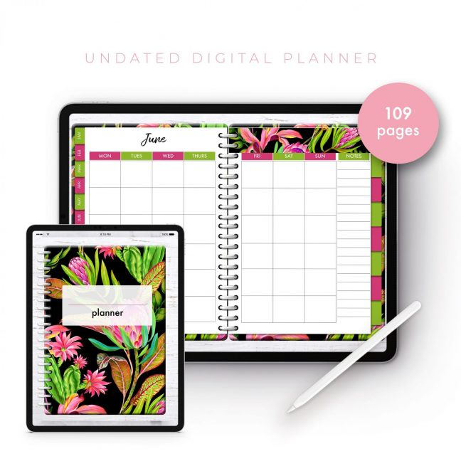 Soul Gal Neon Floral Undated Planner