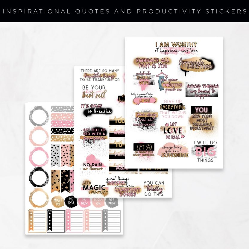 Inspirational Quotes and Productivity Set A Stickers