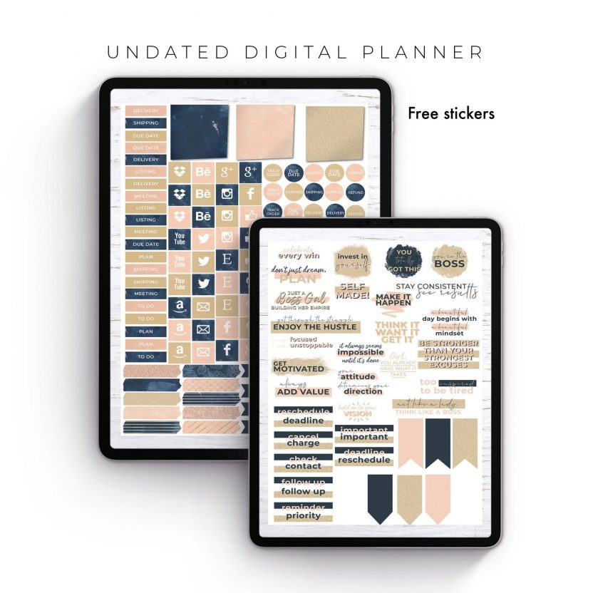 Boss Gal Navy Floral Undated Planner