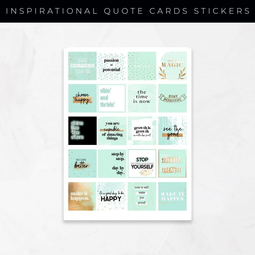 Inspirational Quote Cards Stickers – Mint Gold