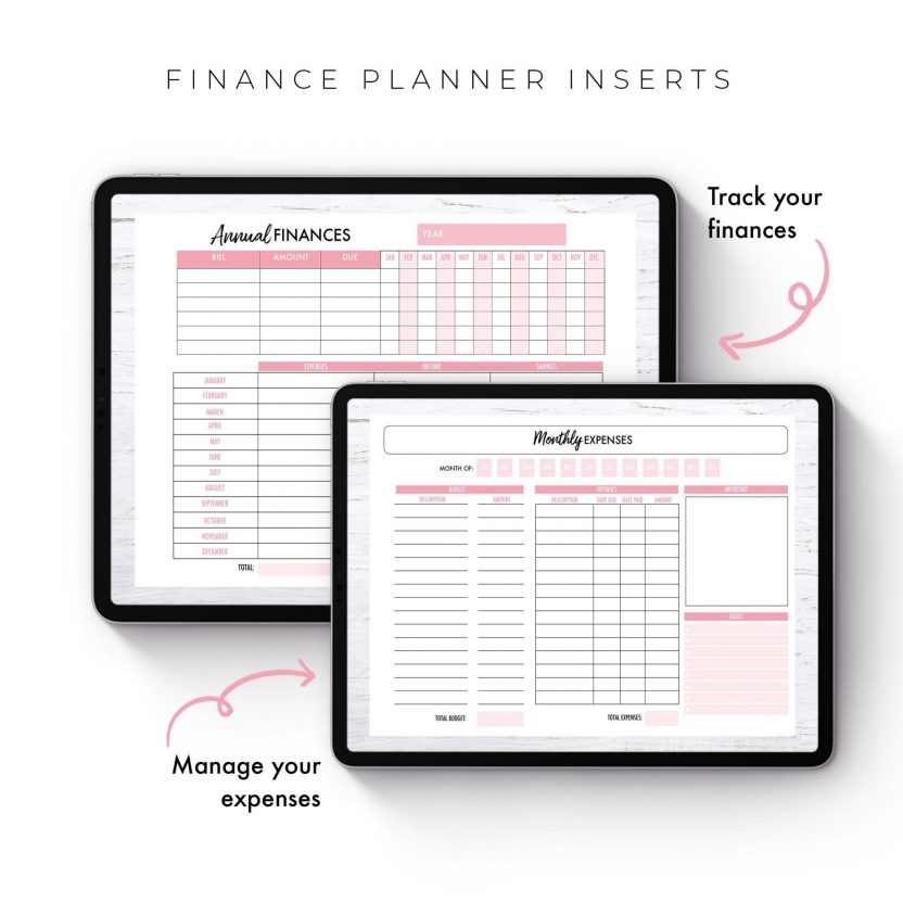 Finance Planner Inserts – Black and Pink