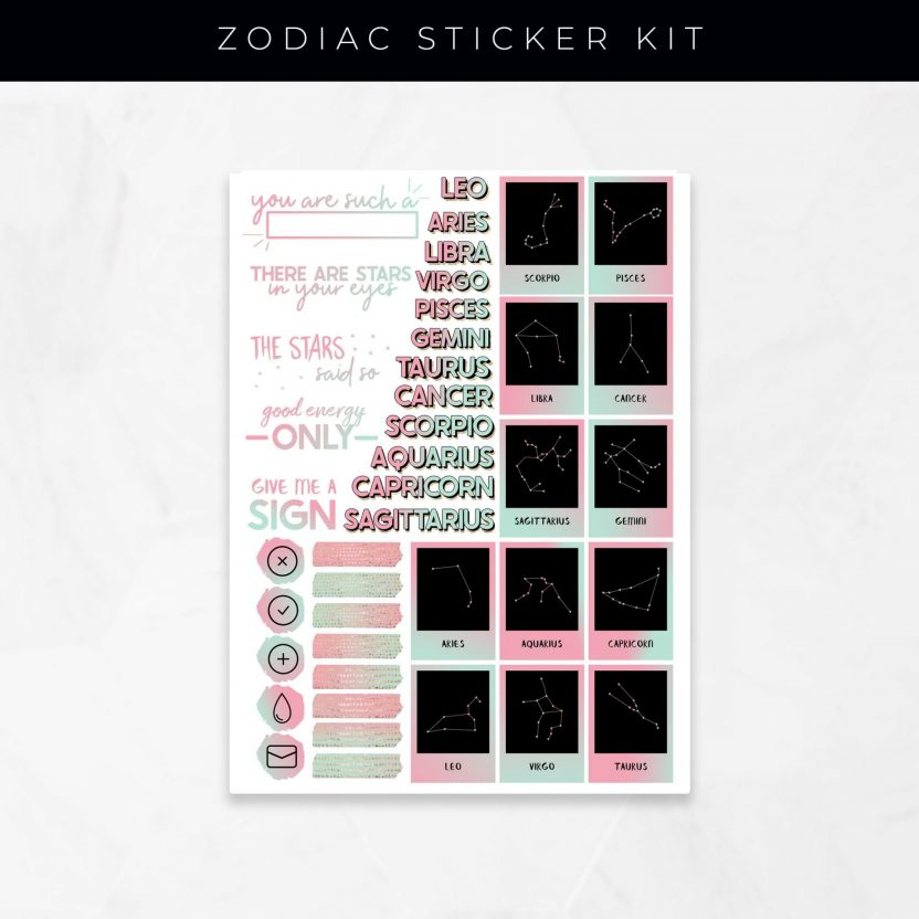 Zodiac Stickers – Pink and Mint
