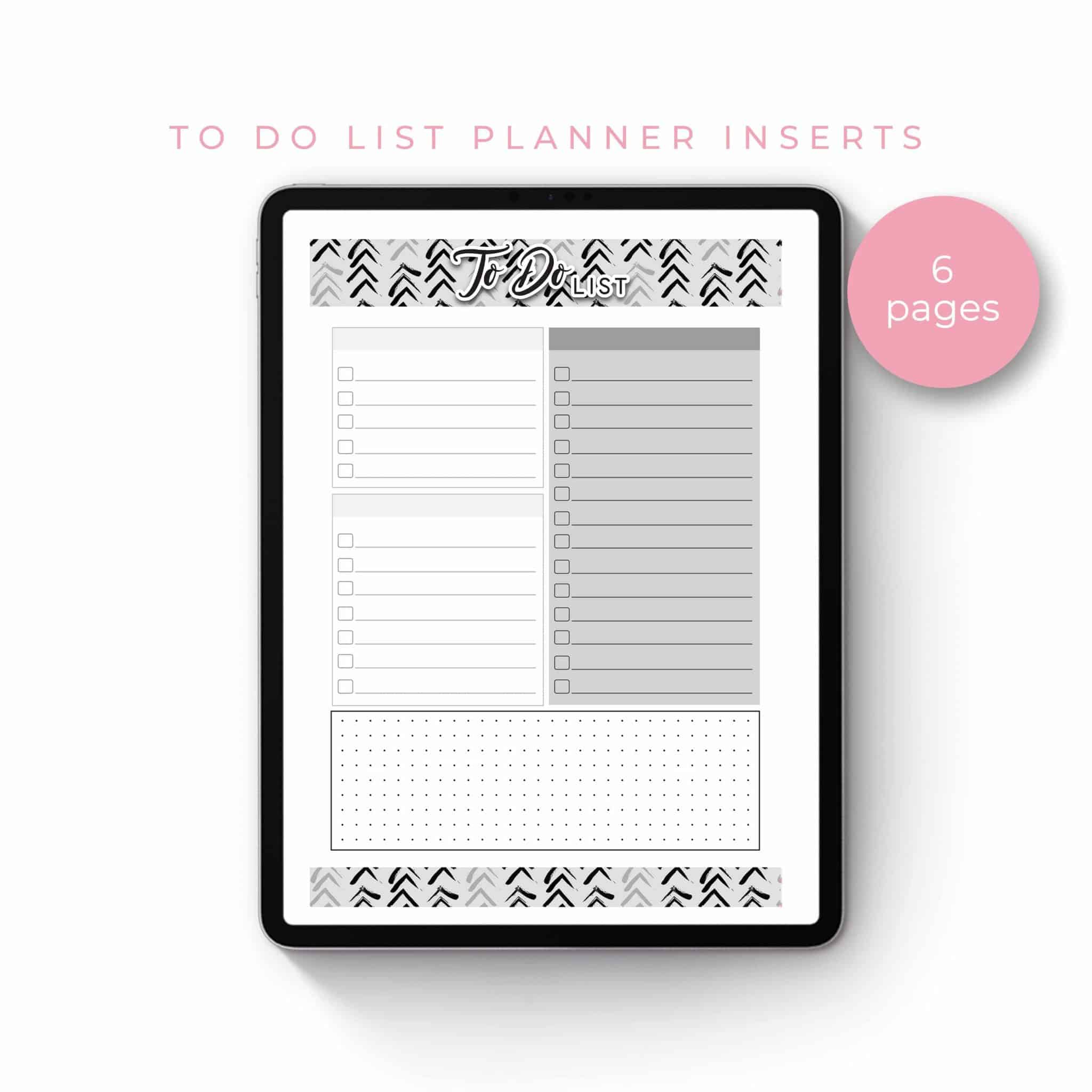 To Do List Planner Inserts – Black and White