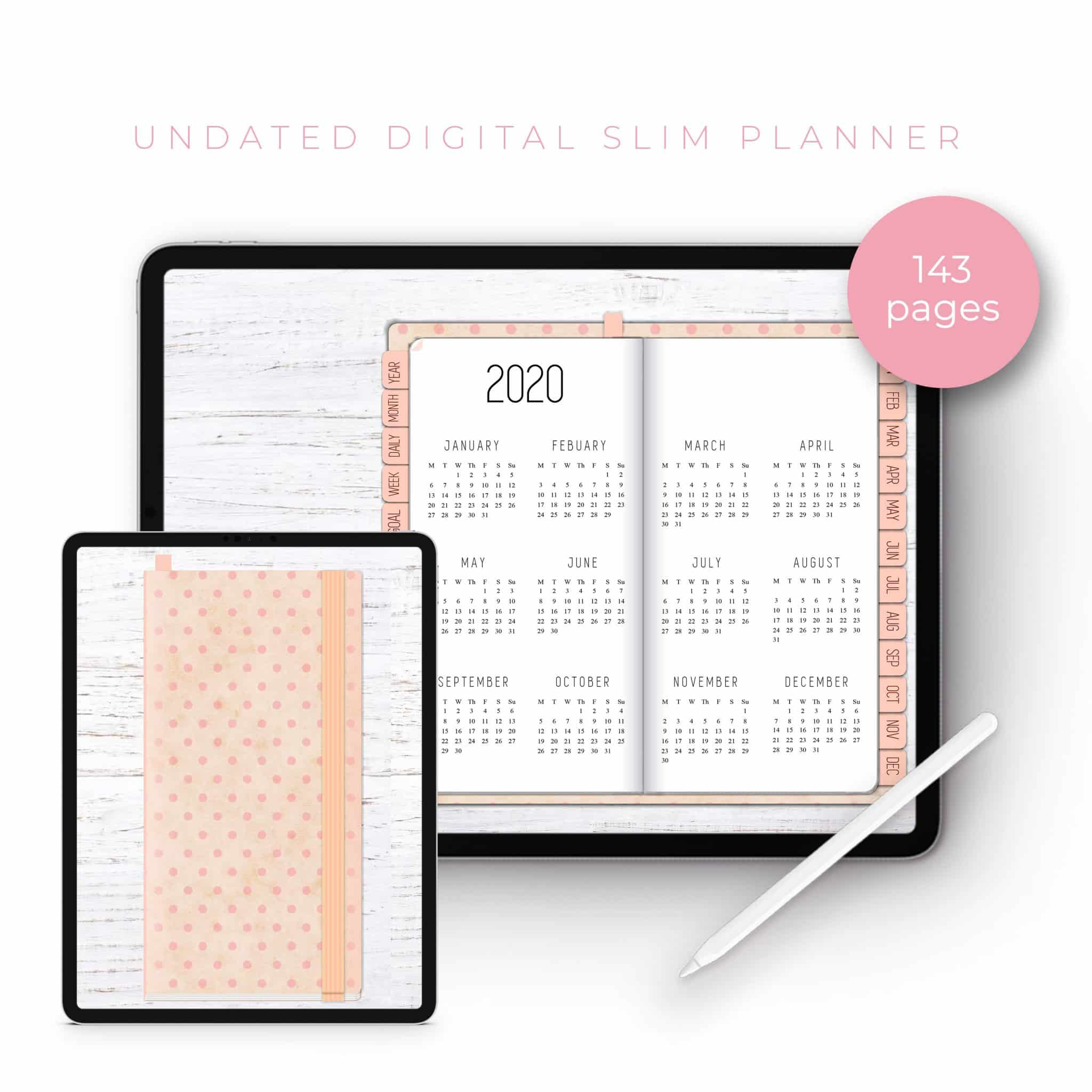 Pink Polka and Rose Gold Slim Undated Planner