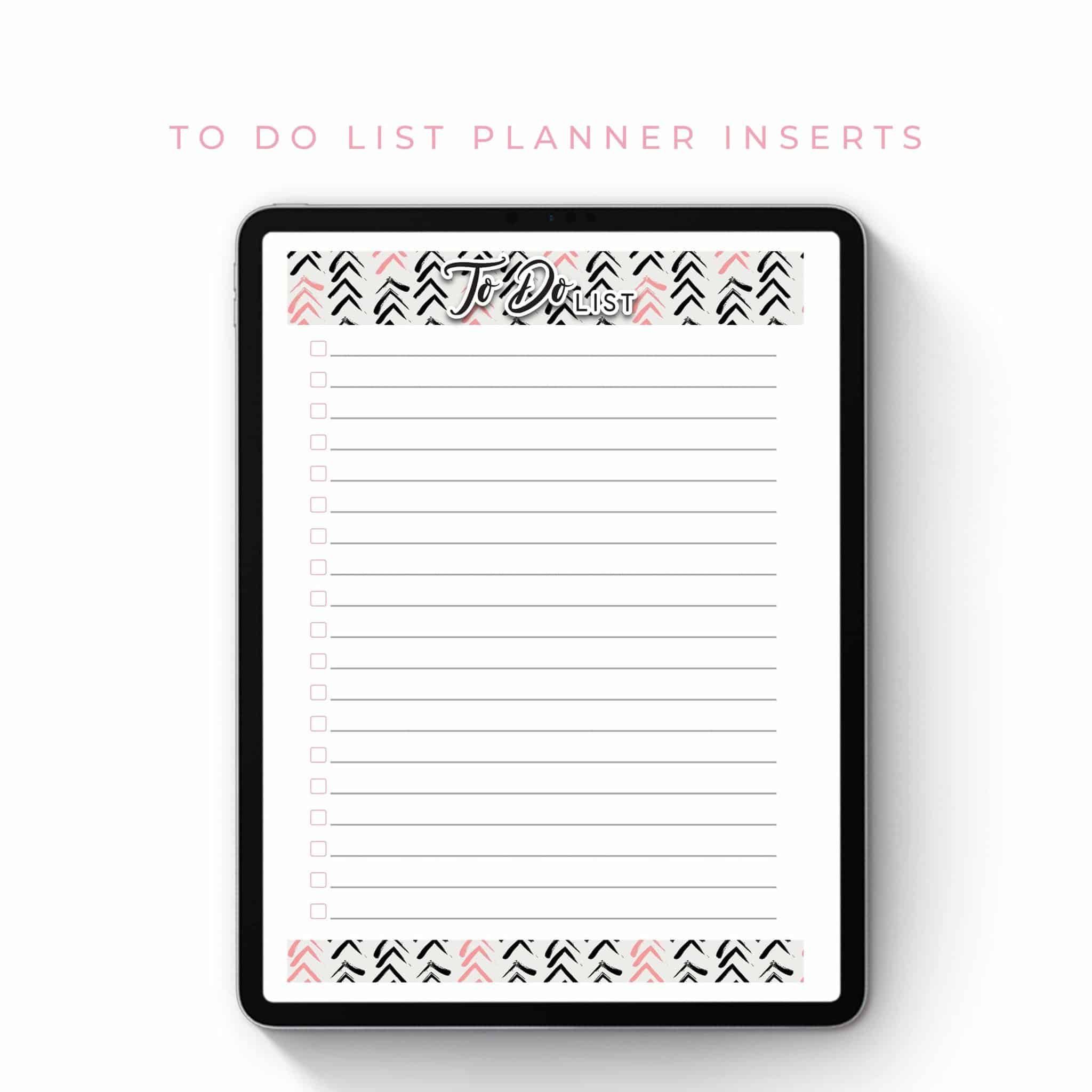 To Do List Planner Inserts – Black and Pink